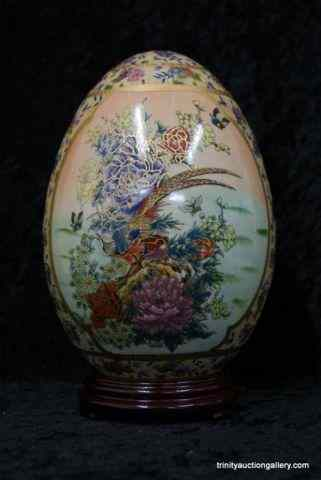 Cloisonne Hand Painted Ceramic Egg w/ StandFrom