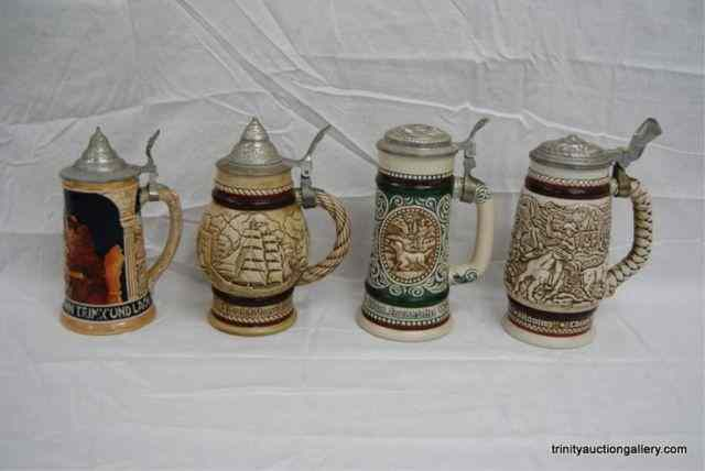 Group of 4 Large Collectible Beer SteinsThis