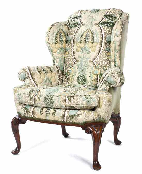 Price Guide For A Queen Anne Style Wingback Armchair The