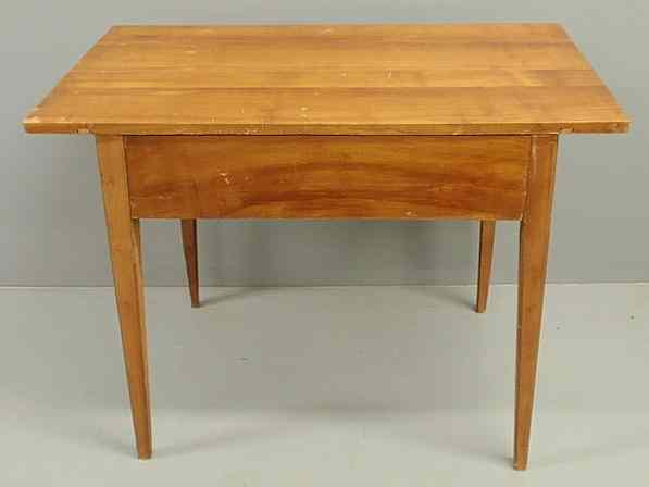 Cherry Biedermeier table with a single drawer