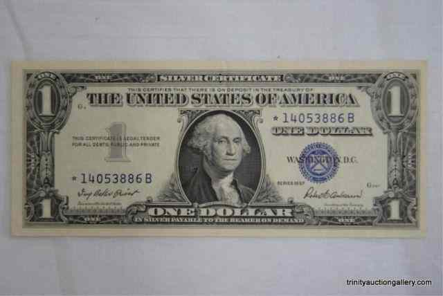 Price guide for 1957 One Dollar Silver Certificate Star NoteA