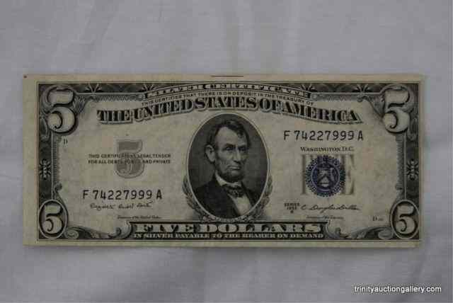 dollar five 1953 certificate trinity tx auction