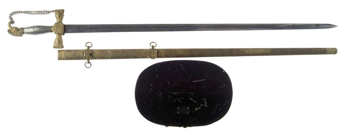 INSCRIBED PRE-WAR MILITIA SWORD AND LATER