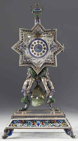 French Enameled Silver and Crystal Desk Clock19th