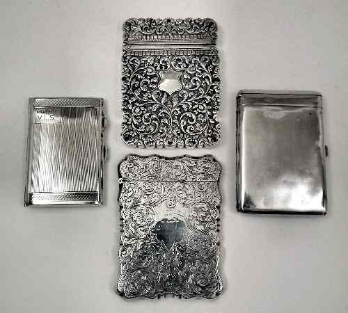 A late Victorian silver rectangular card