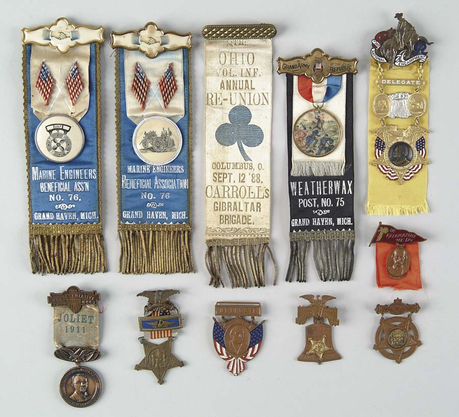 Price guide for LARGE LOT OF GAR AND VETERAN RIBBONS, MEDALS,