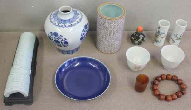Asian Lot.Includes a low blue bowl with underglaze