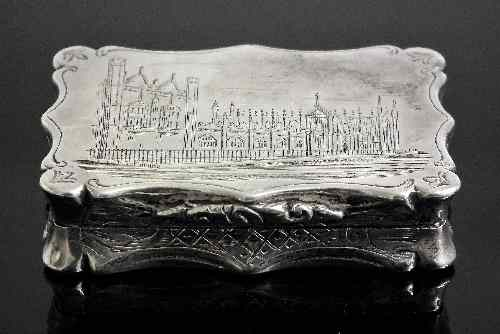 A Victorian silver rectangular ''Castle Top''