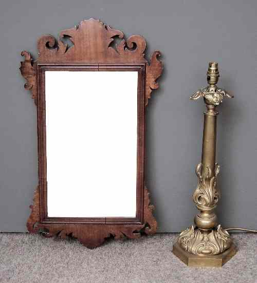 A mahogany rectangular wall mirror of Georgian