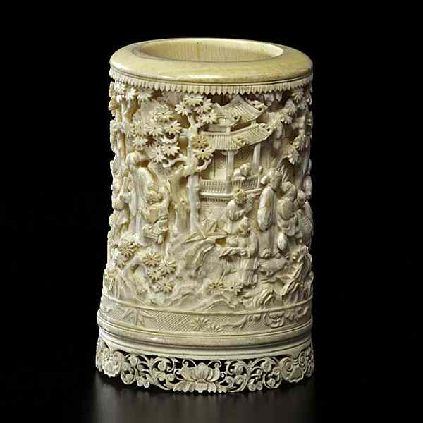 Chinese Ivory Brush Pot Chinese  19th century.
