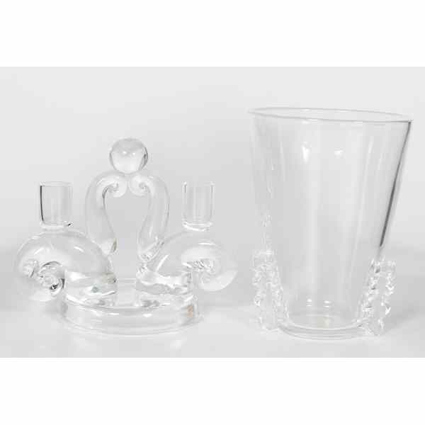 Price Guide For Steuben Crystal Vase And Candleholder American