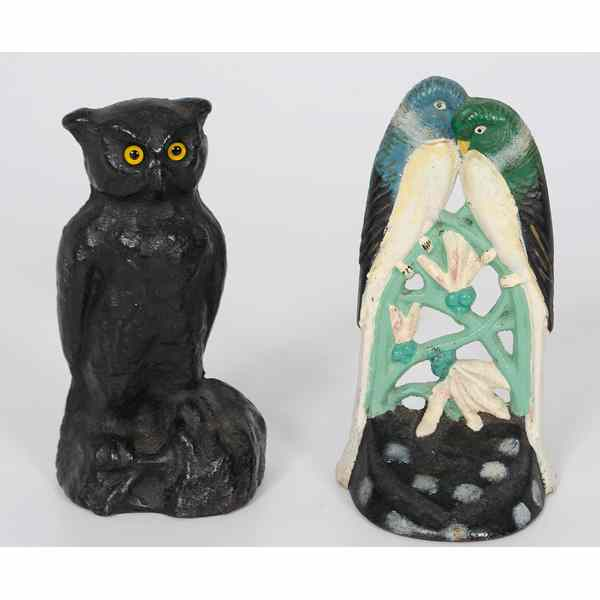 Love Birds And Owl Cast Iron Doorstops American