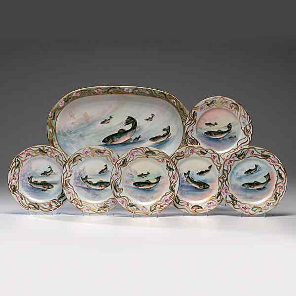 Limoges Porcelain Fish Service French late