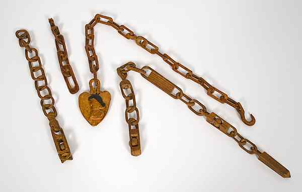 Group of Folk Art Carved Whimsy Chains American.