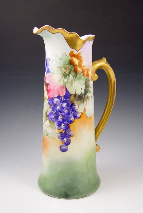 FRENCH LIMOGES HAND PAINTED TANKARD: Ca.