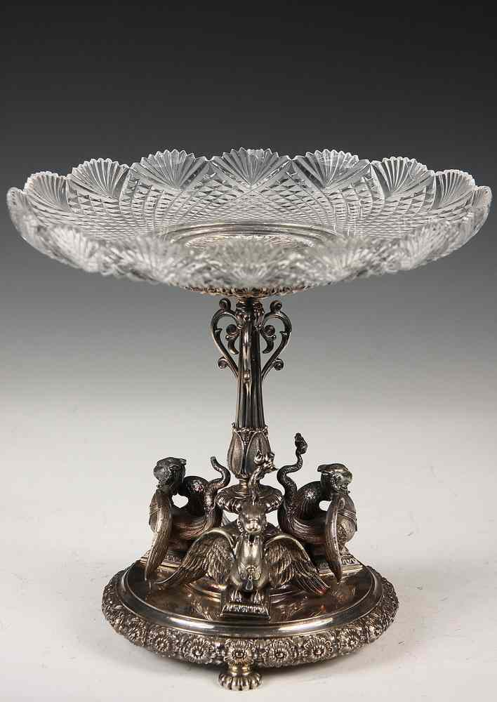 ENGLISH SILVER-PLATED AND CUT GLASS TAZZA