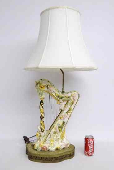 Price guide for vintage harp shaped capodimonte lamp 40 vintage harp shaped capodimonte lamp 40 thecheapjerseys Images