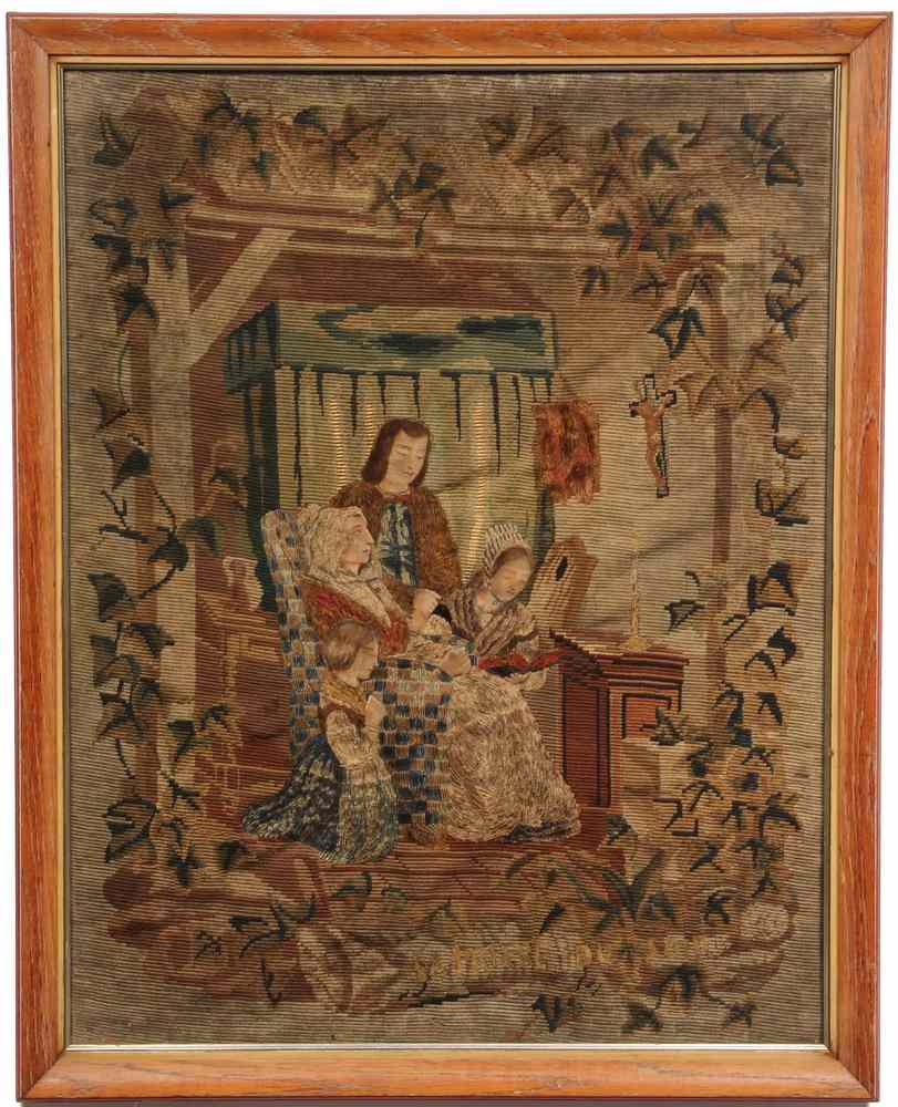 FRAMED FRENCH WOOLWORK TAPESTRY - Early 19th