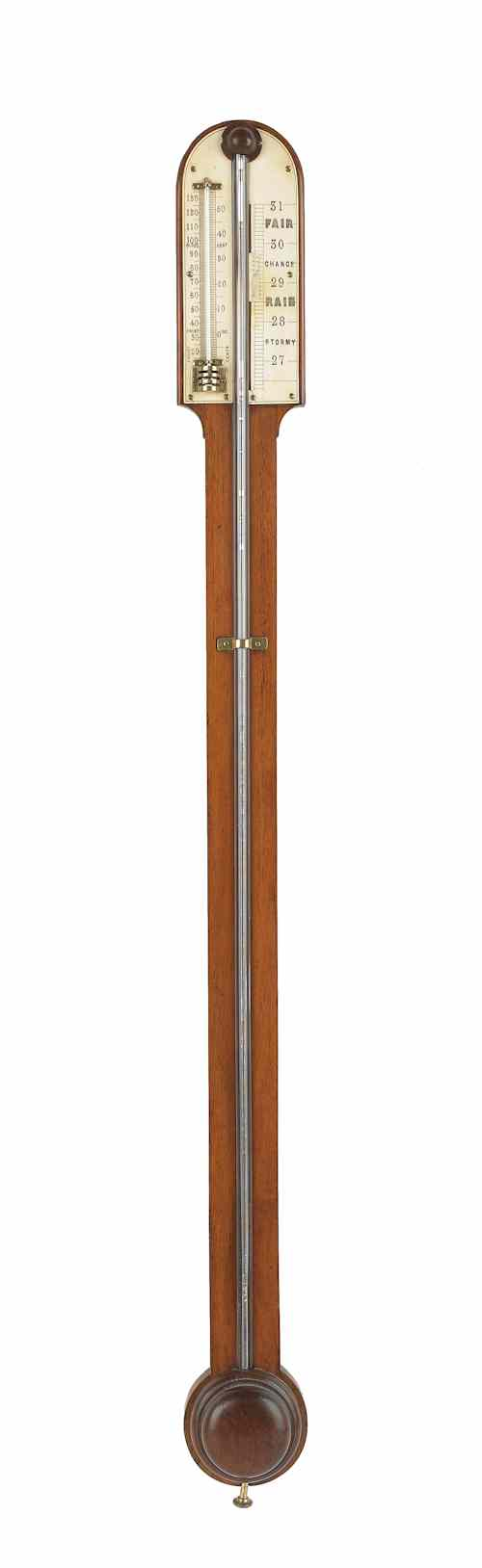 English mahogany stick barometer mid 19th