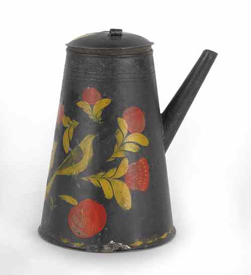 Pennsylvania tole coffee pot 19th c. with