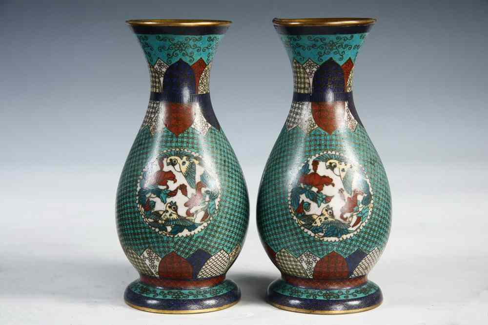 Price Guide For Pair Chinese Cloisonne Vases Pair Chinese