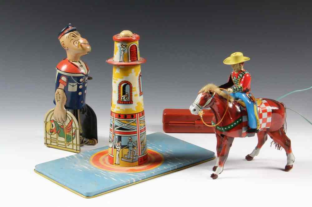 (3) EARLY TIN LITHO TOYS - Including: 1932