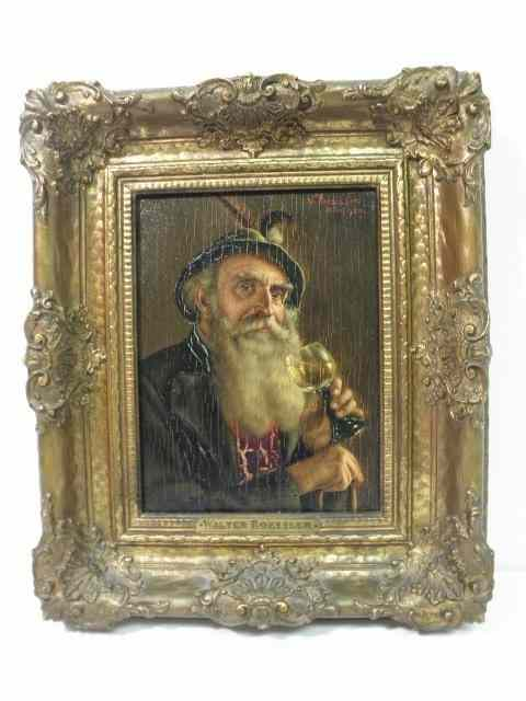 Antique oil on board painting depicting a