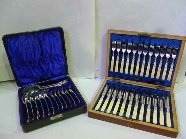 A VICTORIAN SET OF TWELVE BONE HANDLED SILVER