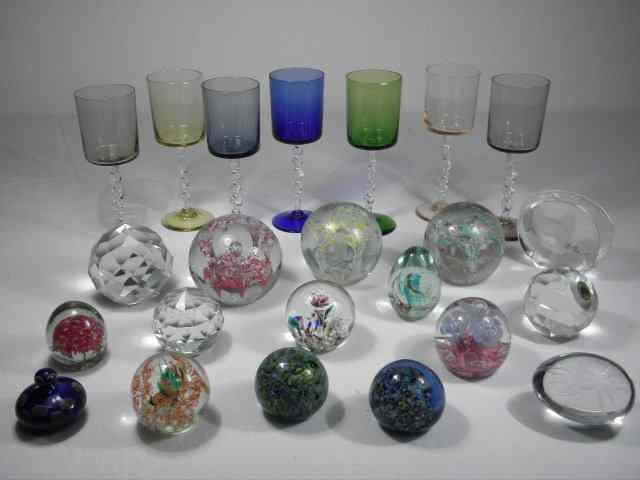 Lot of assorted art glass paperweights stemware