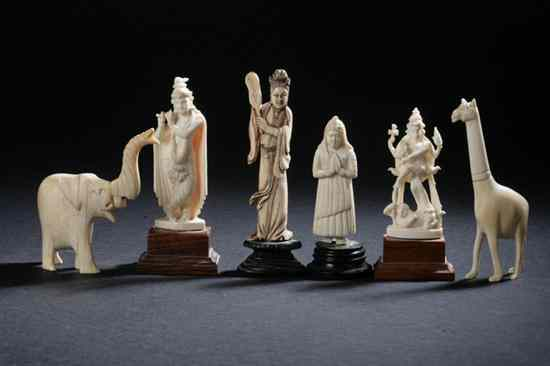 THREE INDIAN IVORY FIGURES Early 20th century.