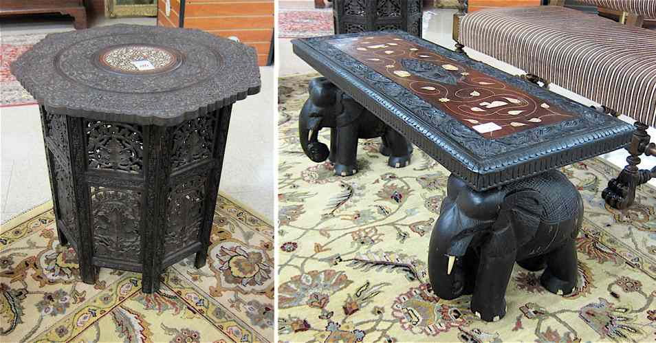 CARVED HARDWOOD BENCH AND SIDE TABLE Pakistan