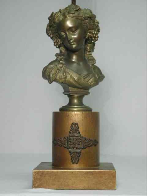 French Victorian patinated metal table bust