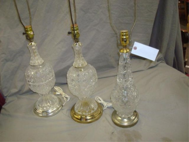 3 Cut Crystal Lamps. From a Bronxville, NY
