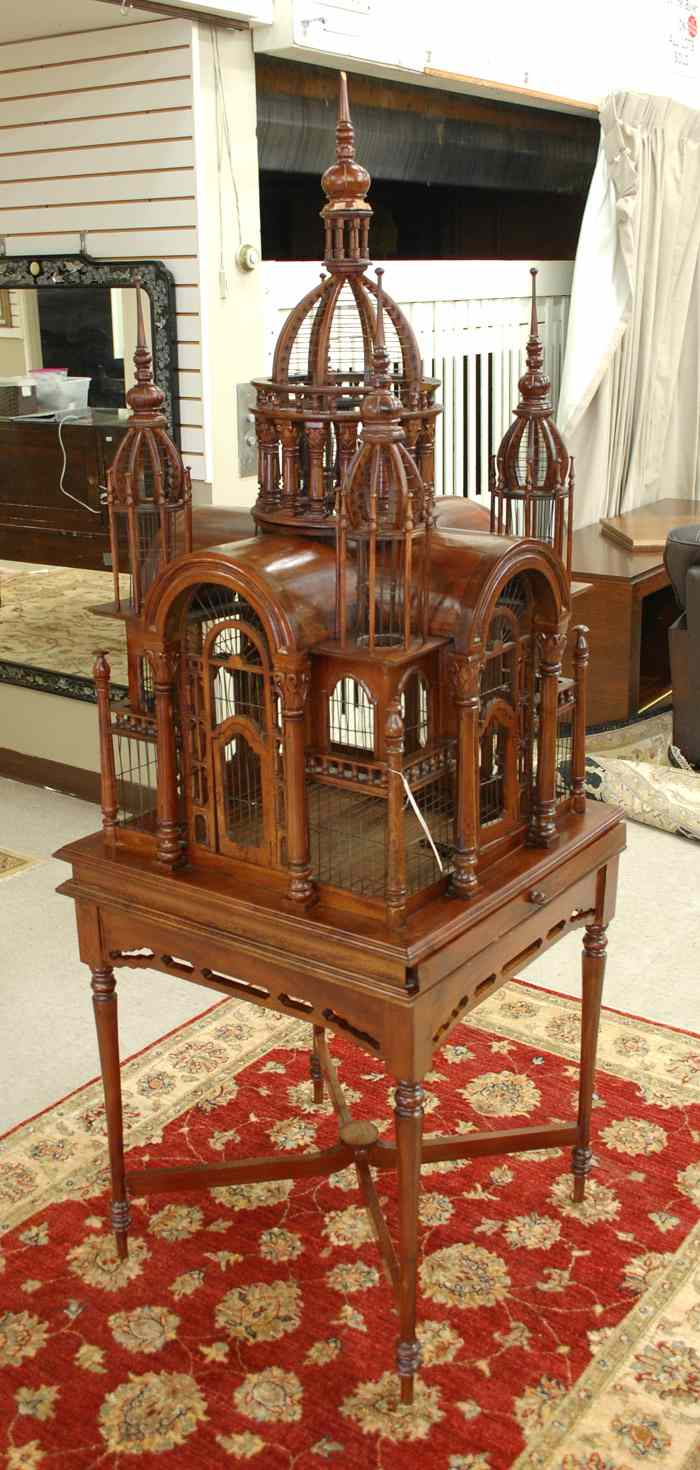 ARCHITECTURAL BIRDCAGE ON STAND American