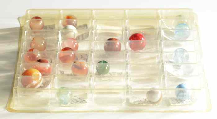 TWENTY COLLECTIBLE MARBLES hand made from
