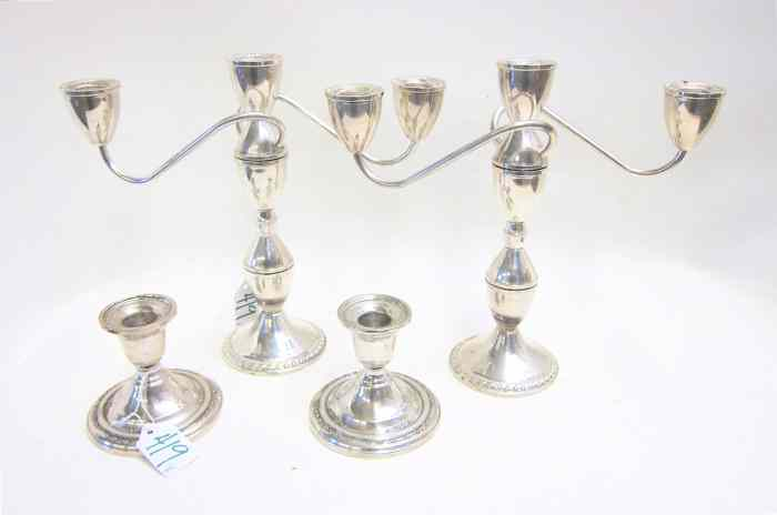 A PAIR AMERICAN STERLING SILVER CANDELABRA
