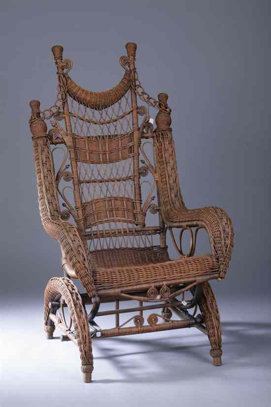 AMERICAN ASSEMBLED THREE-PIECE WOVEN-RATTAN