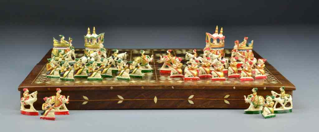 Indian Ivory Polychrome Painted Chess SetA