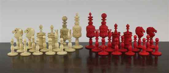 A 19th century Indian carved bone chess set