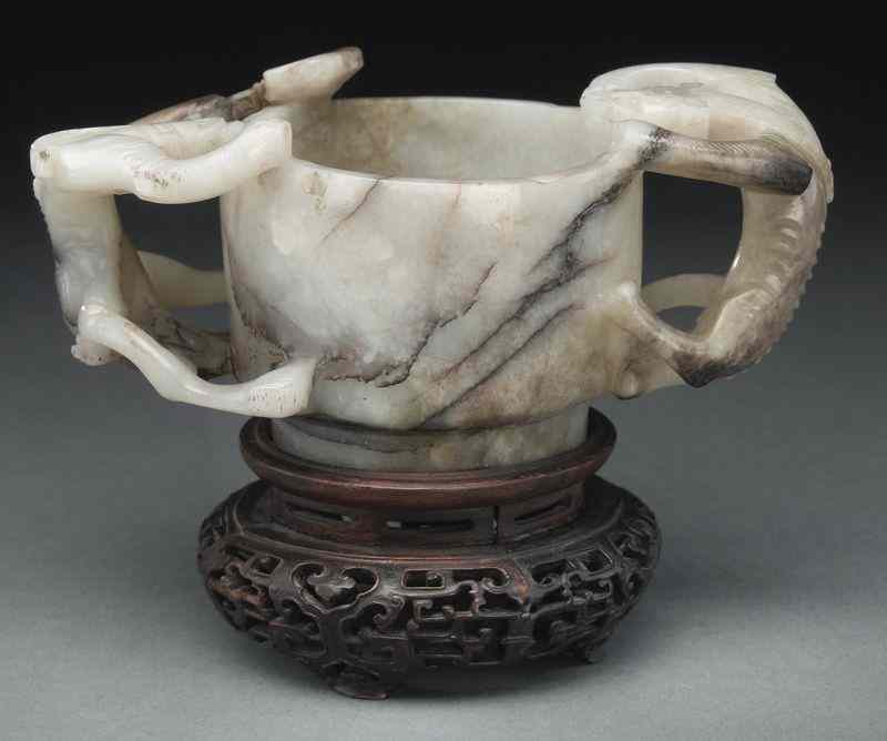 Chinese Ming carved jade libation cup with