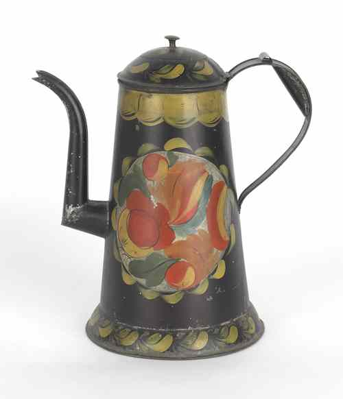 Pennsylvania tole decorated tin coffee pot