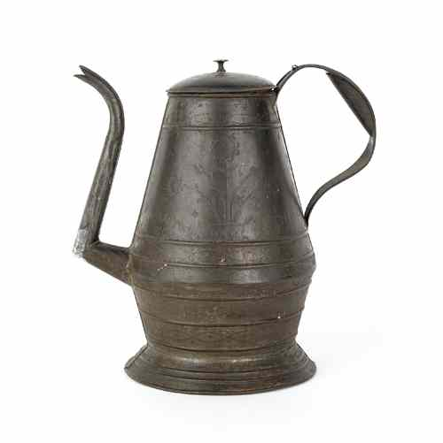 Pennsylvania punched tin coffee pot dated