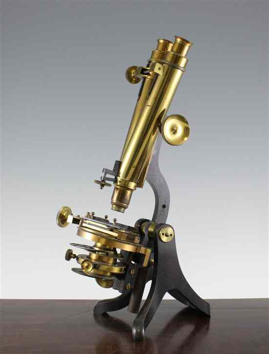 A 19th century lacquered brass binocular