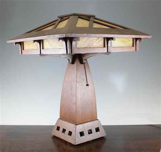 An American Arts & Crafts oak lamp in the