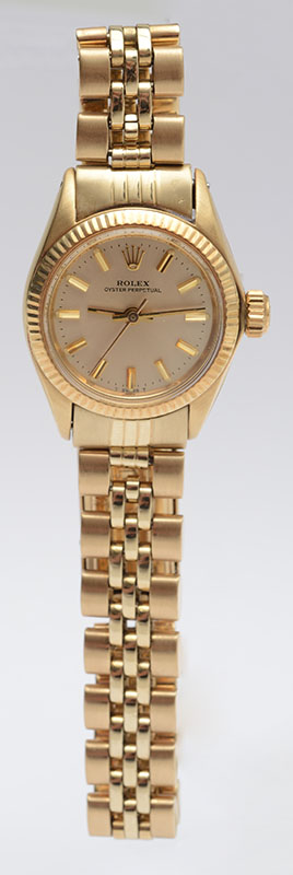 LADIES 14K YELLOW GOLD ROLEX OYSTER PERPETUAL