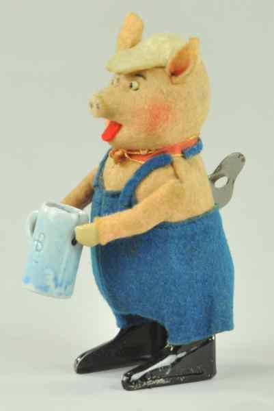 SCHUCO PIG WITH BEER STEIN Germany felt body