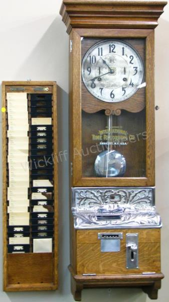 Price Guide For An Antique Golden Oak Era Time Clock By