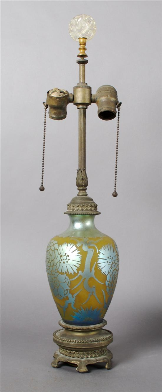 A Steuben Acid-Cut Lamp, Height of glass