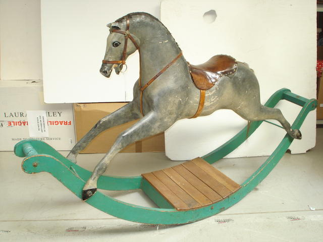 Early carved wooden Rocking horse, English