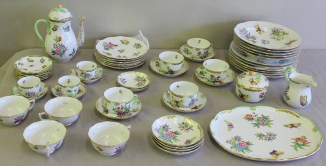 "Large Group of Herend ""Queen Victoria"" Dinnerware.Includes"